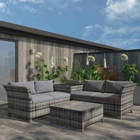 Outdoor Rattan 4 Seater Corner Sofa & Table Set in Grey