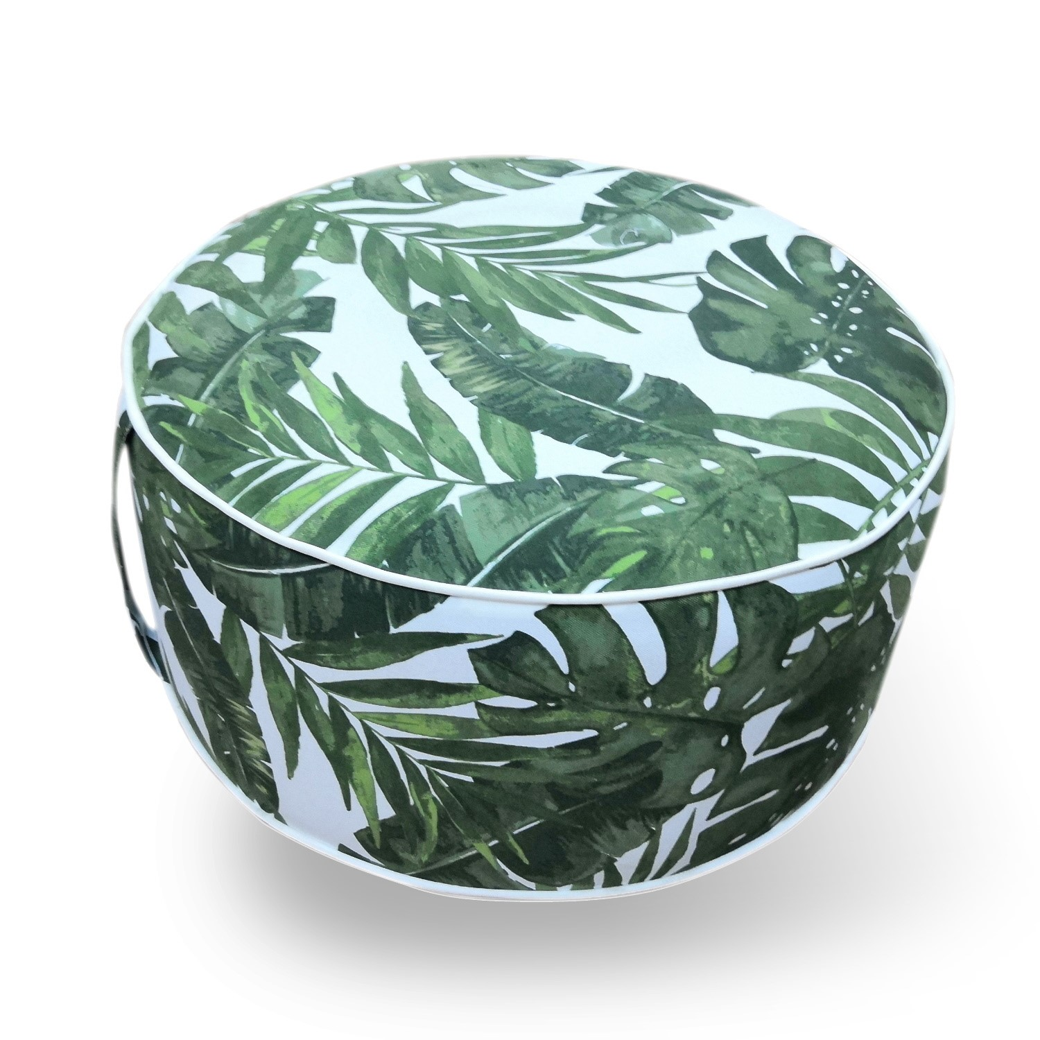 Outdoor Pouffe in Green & White Leaf Print  Inflatable