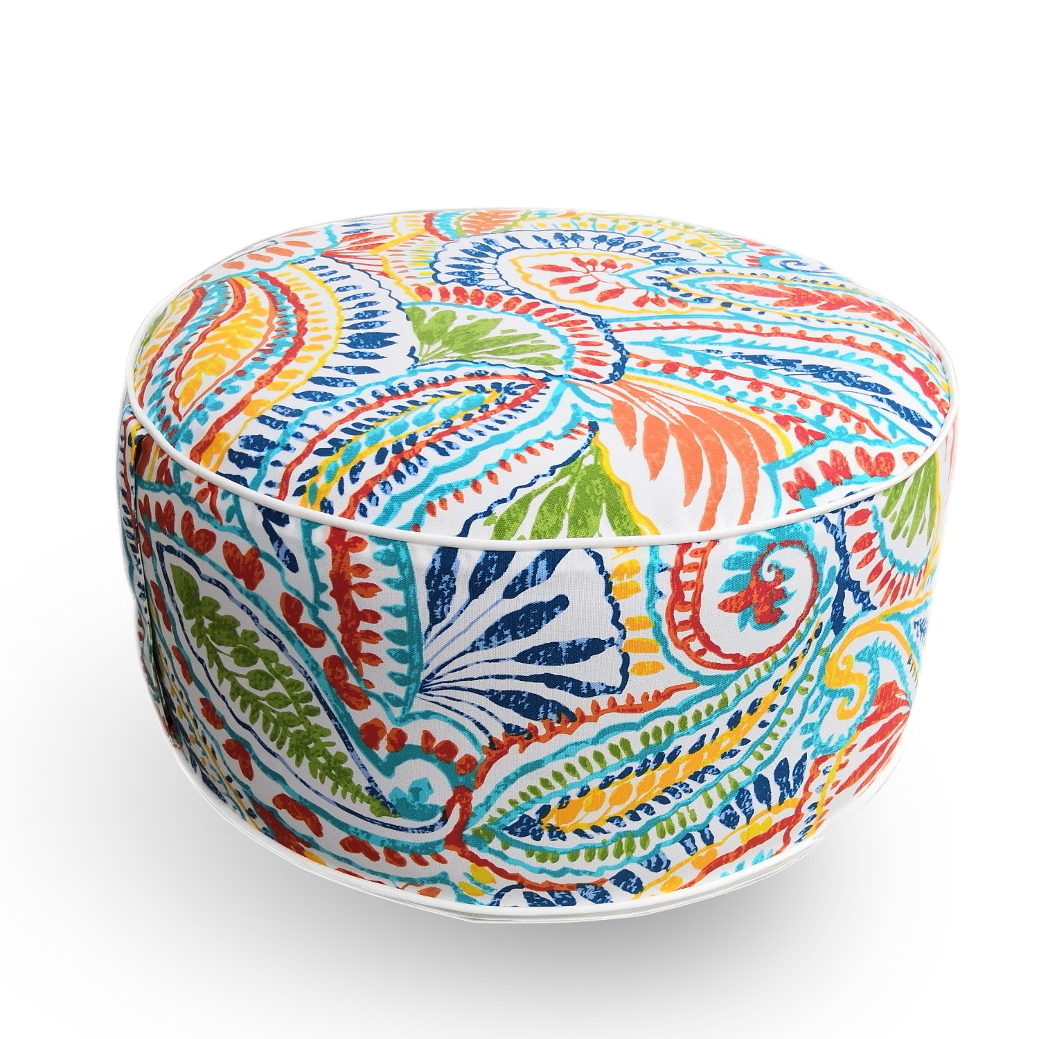 Outdoor Pouffe with Multi Paisley Print  Inflatable