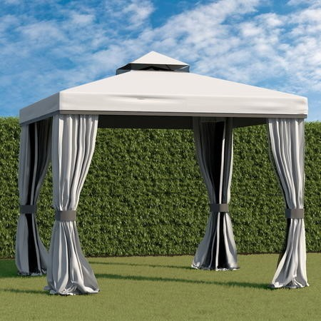 Large 3x3m Outdoor Metal Gazebo in Grey with Mosquito Net