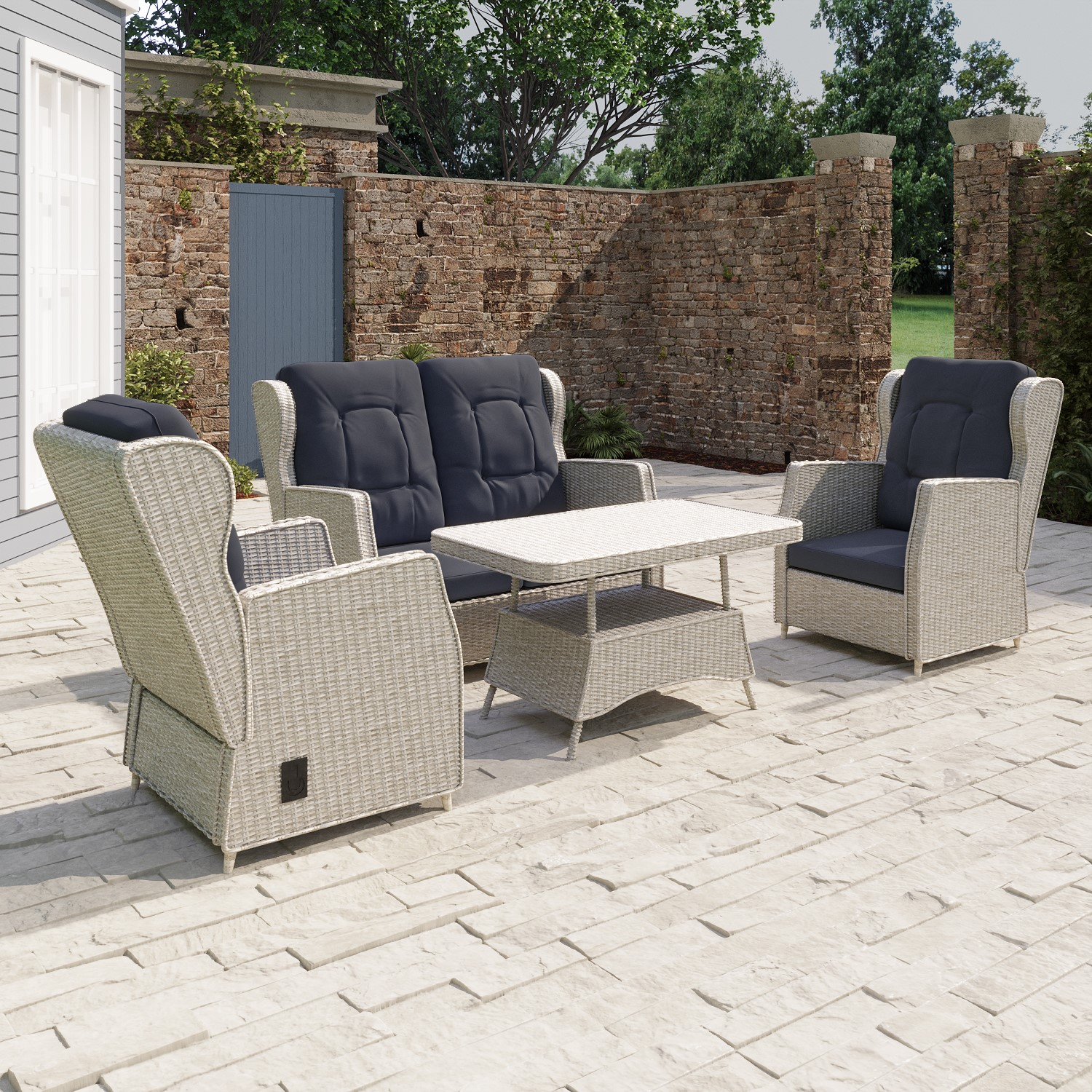 Photo of Grey rattan garden sofa set with chairs and table - aspen