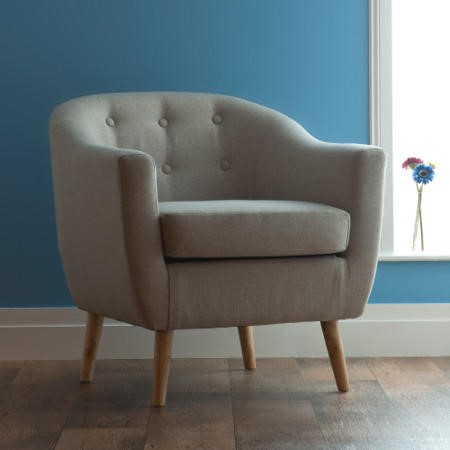 World Furniture Upholstered Chair in Natural Beige - Fulham Range