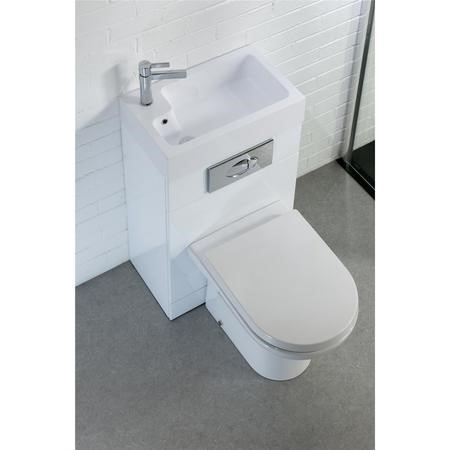 White Gloss Cloakroom Suite with D-Shape Toilet