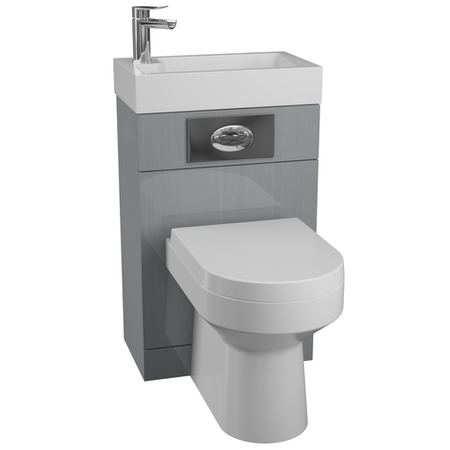 Grey Cloakroom Vanity Unit & Basin with Curve Toilet