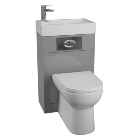 Grey Cloakroom Suite with D-Shape Toilet