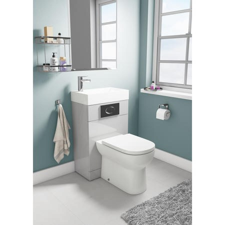 Gloss Grey Cloakroom Suite with D-Shape Toilet