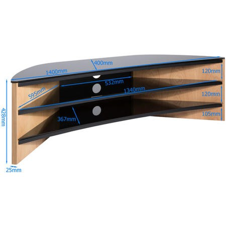"Alphason FW1400C-LO Finewoods Corner TV Stand for up to 60"" TVs - Light Oak"