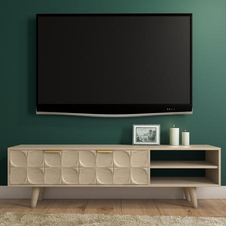 Freya Large Solid Wood TV Unit in Light Wash with Gold Detail
