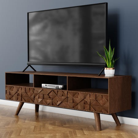 "Large Dark Wood TV Stand Mid Century - TV's up to 56"" - Freya"