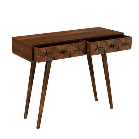 Narrow Console Table in Dark Wood with Drawers - Freya