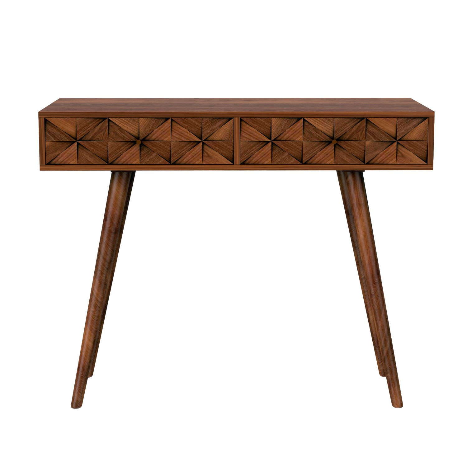 Narrow Console Table In Dark Wood With, Console Table With Storage Bins