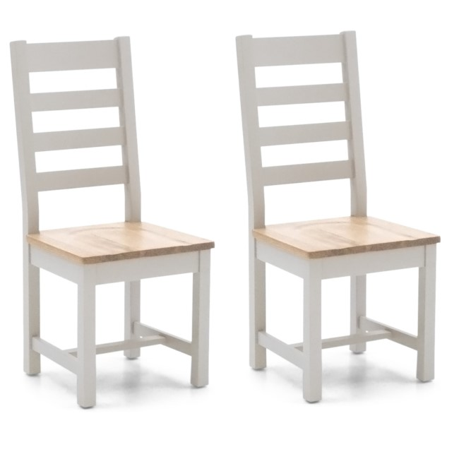 Ferndale Two Tone Solid Oak Dining Chairs with Ladder Back - 1 x Pair