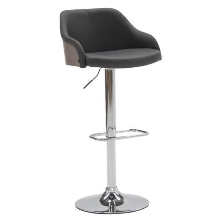 Fossil Bar Stool in Dark Grey Faux Leather - Adjustable