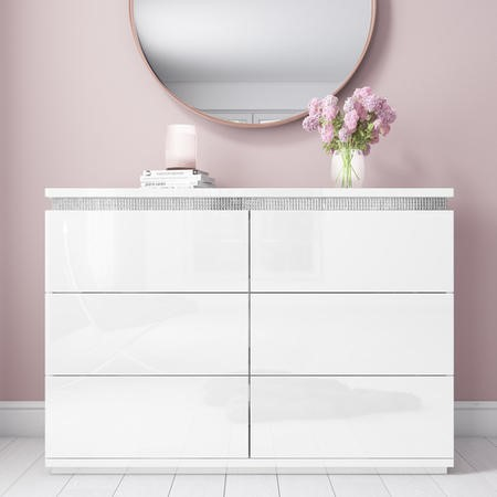 Gabriella White High Gloss Wide Chest of Drawers with Diamante Trim