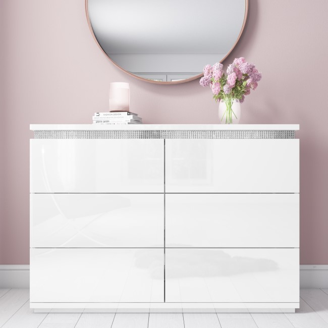 Gabriella White Gloss Chest of Drawers with Diamante Trim