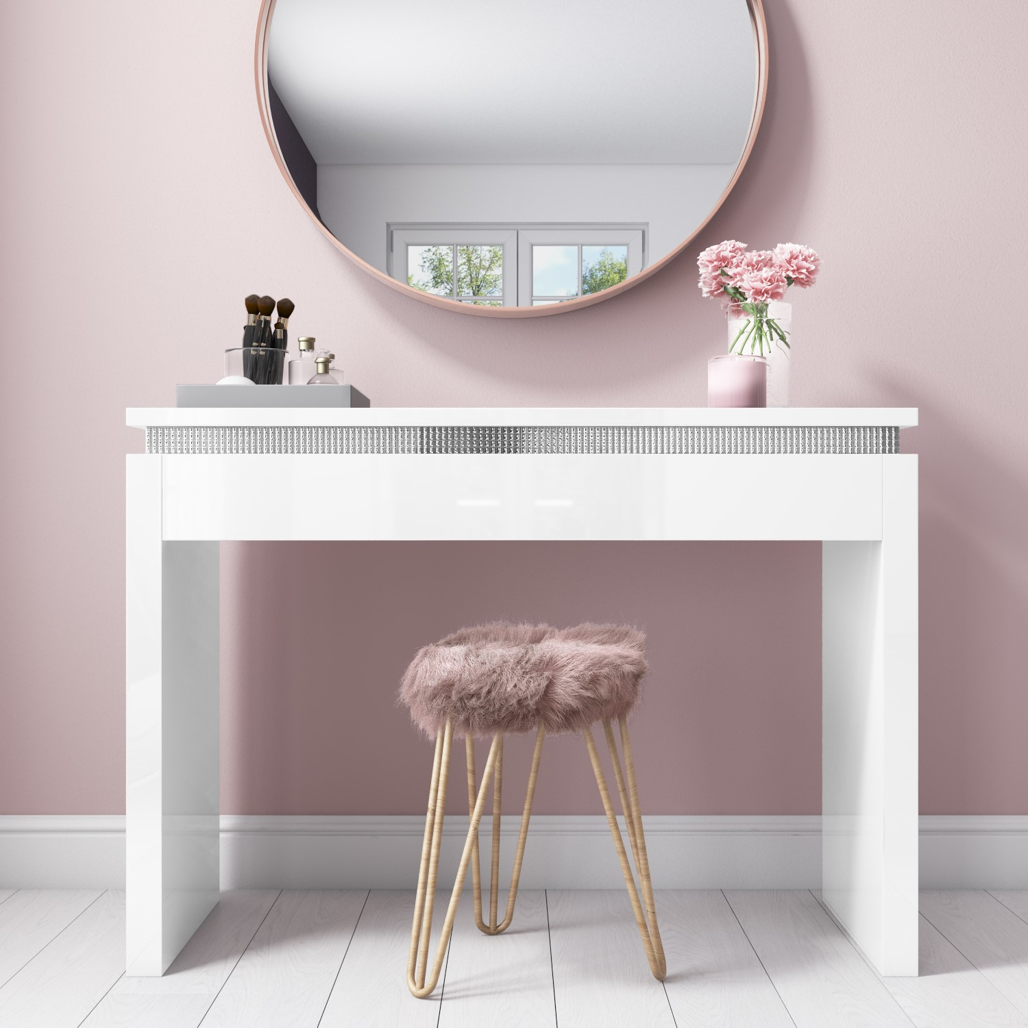 Gabriella White Gloss Dressing Table With Diamante Trim Furniture123