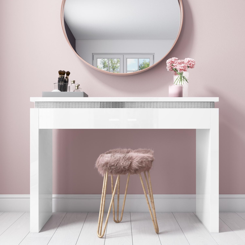 Gabriella White Gloss Dressing Table with Diamante Trim