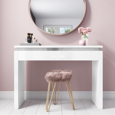 Gabriella White Gloss Dressing Table with Diamante Trim