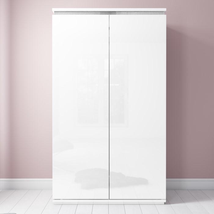 Gabriella White High Gloss Double Wardrobe With Diamante Trim Furniture123