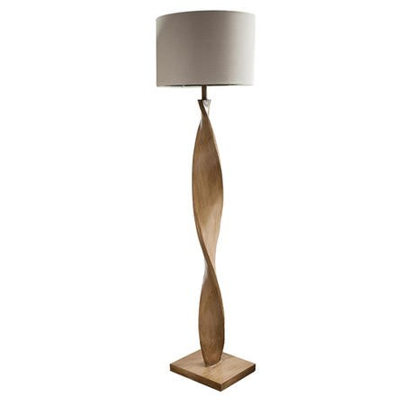 Floor Lamp with Oak Spiralling Base & Linen Shade - Argenta