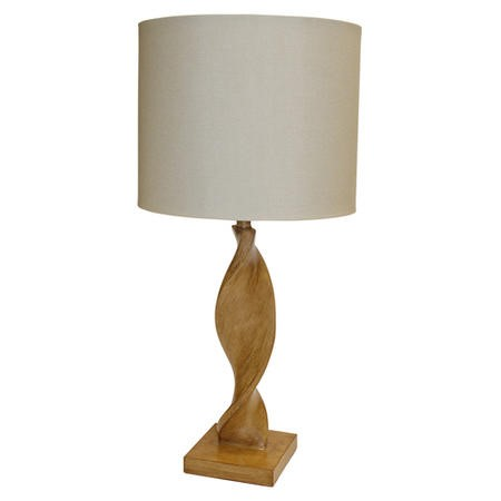 Argenta Table Lamp with Natural Oak Effect Spiralling Base & Natural Linen Light Shade