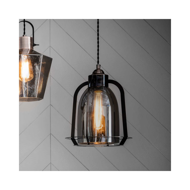 Copper Pendant Light in Glass & Steel  Aykley