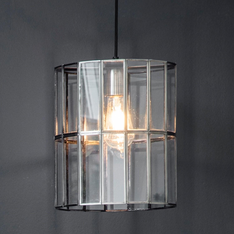 Chrome Pendant Light in Glass & Steel - Bordner