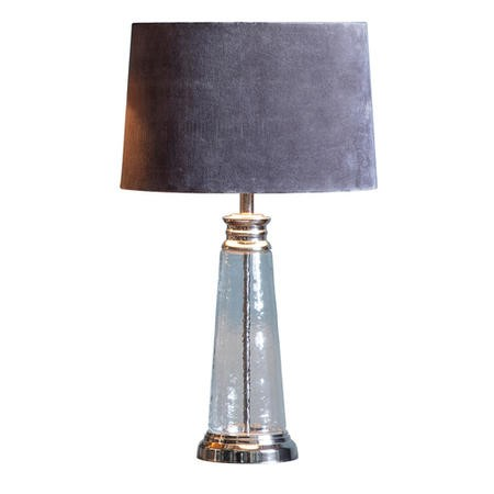 Table Lamp with Grey Velvet Shade & Hammered Glass Base - Caesaro