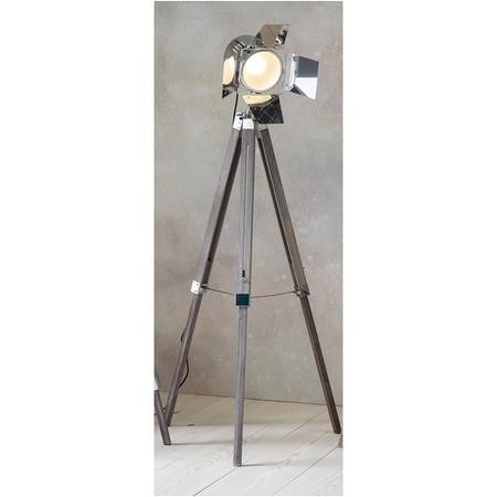 Tripod Floor Lamp with Chrome Spotlight & Wood Legs - Dalton