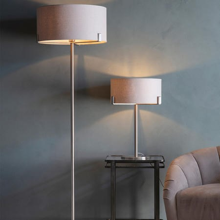 Evelyn Floor Lamp with Satin Nickel Base & Natural Fabric Light Shade