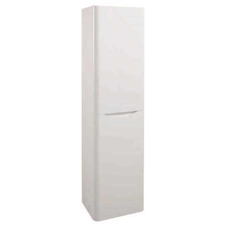 Cresta white gloss wall mount tall bathroom storage for Bathroom cabinets 400mm high