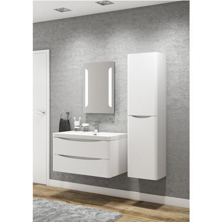 Cresta White Gloss Wall Mount Tall Bathroom Storage