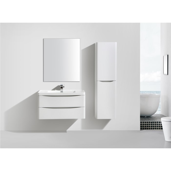 Cresta white gloss wall mount tall bathroom storage for Bathroom cabinets 400mm wide
