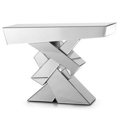 Venice Cross Feature Mirrored Console Table