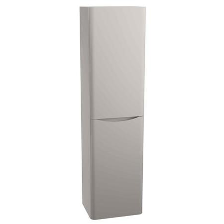 Grey Wall Hung Tall Bathroom Storage Cabinet - W400 x H1500mm - Oakland