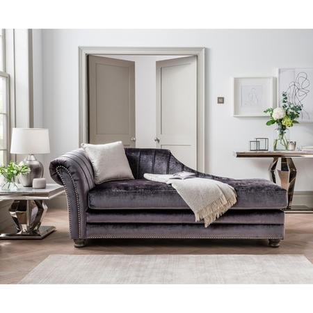 Giselle Chaise Lounger in Grey Velvet
