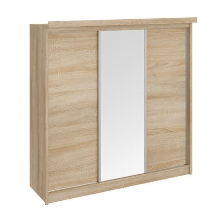Evana Oslo Mirror and Oak Freestanding Sliding Wardrobe with Lights