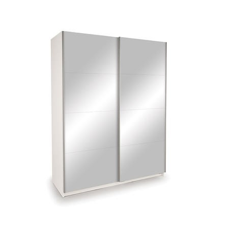 Evana White Double Mirror Freestanding Sliding Wardrobe