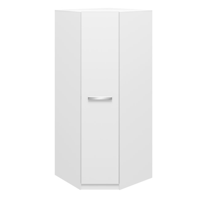 1 Door White Corner Wardrobe - Aspen