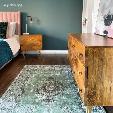 Halo 2 Drawer Bedside Table with Brass Inlay in Natural Honey