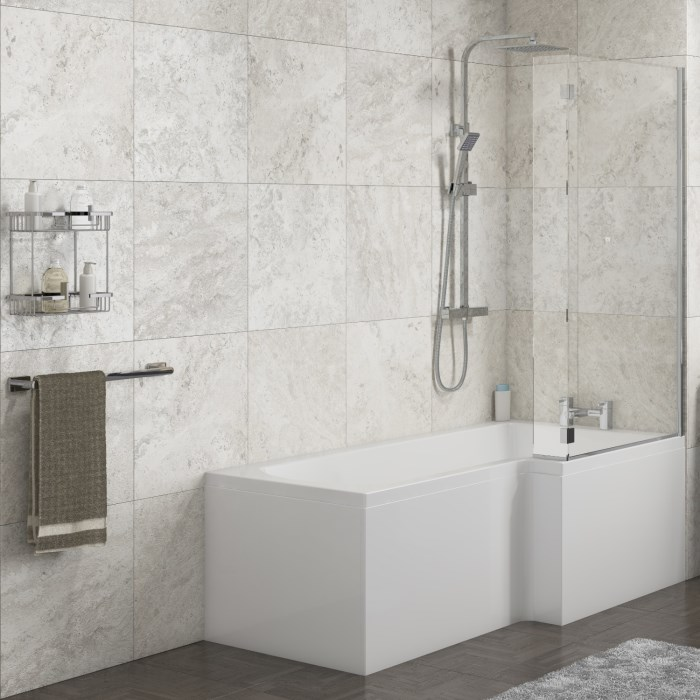 Lena Right Hand L Shape Shower Bath with Side Panel & Shower Screen ...