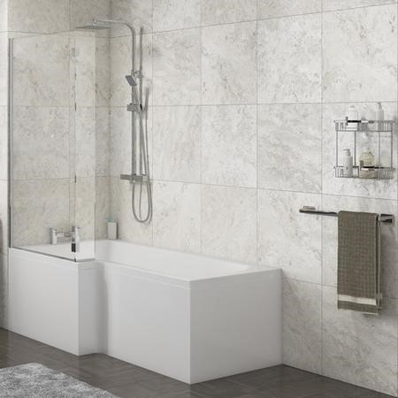 Lena Left Hand L Shape Shower Bath with Side Panel & Shower Screen - 1700 x 700mm