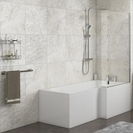 Lena Right Hand L Shape Shower Bath with Side Panel & Shower Screen - 1700 x 700mm