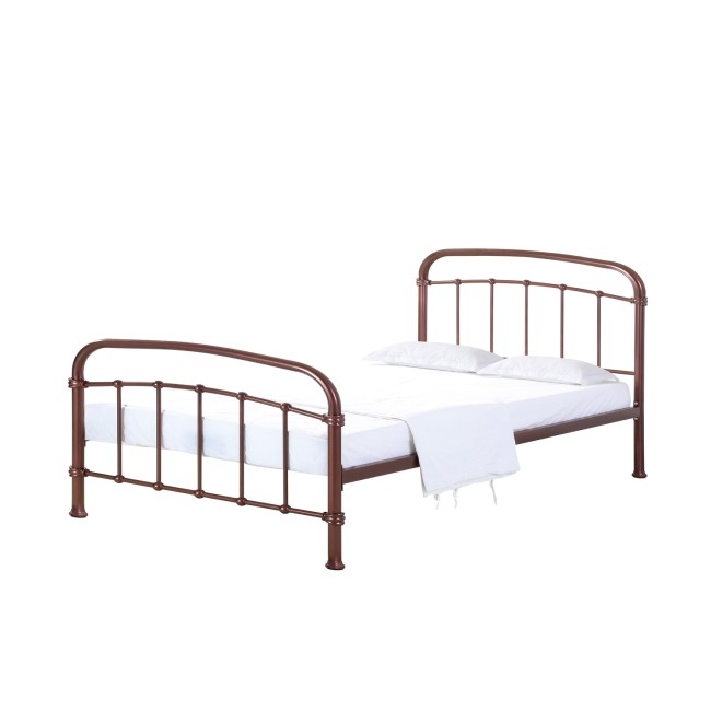 LPD Halston Rose Gold Copper Double Metal Bed Frame