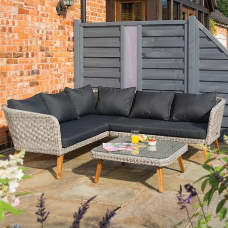 Rowlinson Rattan Garden Corner Sofa Set in Light Rattan with Dark Grey Cushions – Hanoi  Range