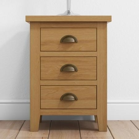 Harrington Solid Oak Bedside Table with 3 Drawers