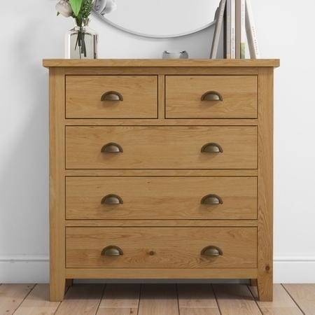 Harrington Solid Oak 3+2 Chests of Drawers