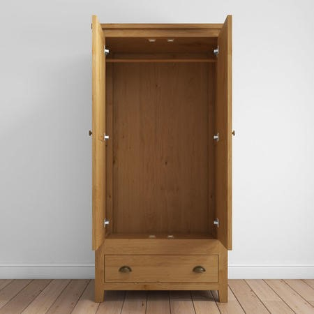 Harrington Solid Oak 2 Door 1 Drawer Wardrobe