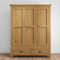 Harrington Solid Oak 3 Door Wardrobe
