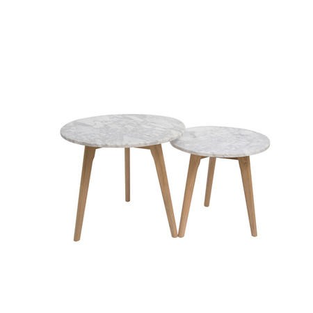 LPD Harlow Round Nest of 2 Tables Oak and White Marble Top